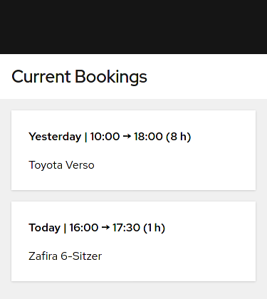 Screenshot of bookings view