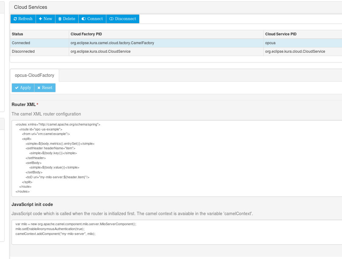 Screenshot of cloud service configuration
